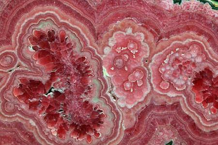 Foto de Rhodochrosite pink rose red stone is a manganese carbonate mineral with chemical composition MnCO3 - Imagen libre de derechos