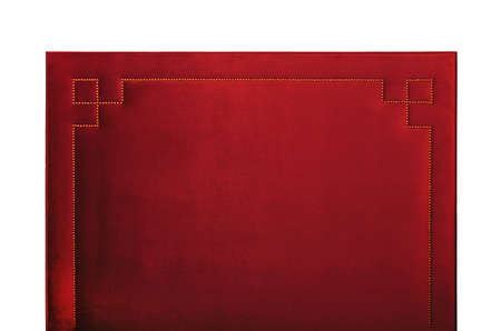Photo for Red soft velvet bed headboard isolated on white background, front view - Royalty Free Image