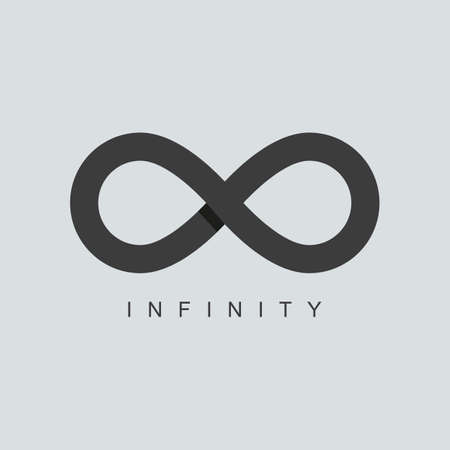 Illustrazione per infinity symbol or sign icon template. isolated on grey background. overlapping technique. vector illustration - Immagini Royalty Free