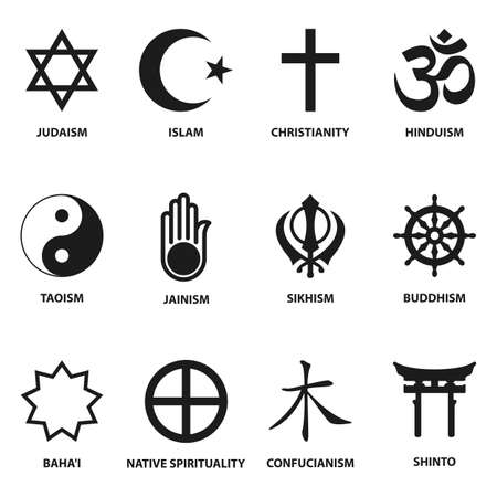Ilustración de world religious sign and symbols collection, isolated on white background. vector illustration - Imagen libre de derechos