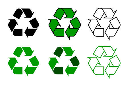 Ilustración de recycle symbol or sign set isolated on white background. this symbol may be used to designate recyclable materials. vector illustration - Imagen libre de derechos
