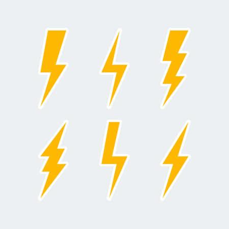 Illustration for lightning bolt icons set, thunderbolt sign or flash symbol. isolated on grey background. vector illustration - Royalty Free Image