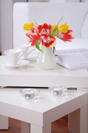 Time for relaxing and reading - home interior in white tone
