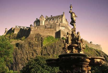 Edinburgh Castle at dusk from Princes St Gardens