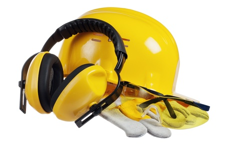 Photo for Standard construction safety equipment, it is isolated on white - Royalty Free Image
