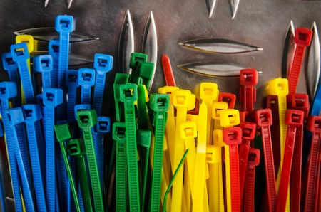 Photo for Set colored cable ties, close up - Royalty Free Image