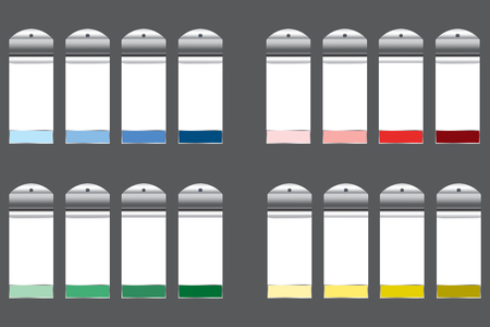 Illustration pour Sets of infographic rectangular white charts with metal labels on hanging ready for your text. Each set of four charts is designed  with another color with gradually darkened color hues.  - image libre de droit