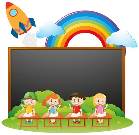 Ilustración de Board template with kids in classroom illustration - Imagen libre de derechos