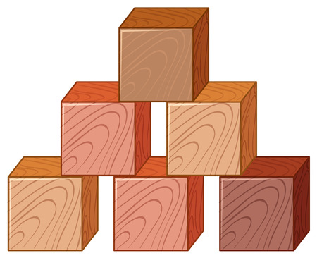 Illustration for Wooden cubes in stack illustration - Royalty Free Image