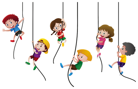 Illustration for Many kids climbing up the rope illustration - Royalty Free Image
