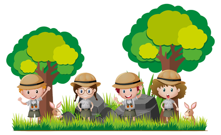 Illustration for Four kids in safari outfit hiking in woods illustration - Royalty Free Image