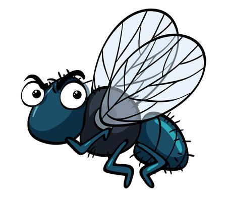 Ilustración de Housefly with angry face illustration - Imagen libre de derechos