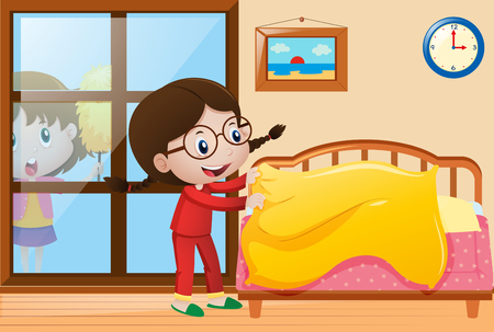 Illustration pour Girl making bed and dusting window illustration - image libre de droit