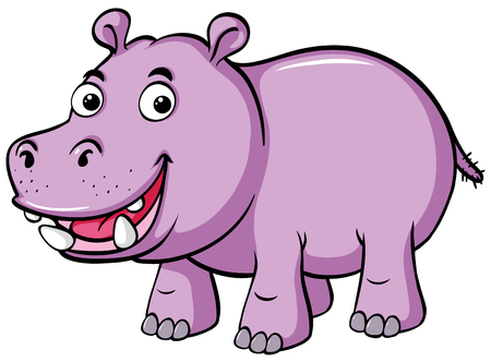 Illustration for Cute hippo smiles on white background illustration - Royalty Free Image