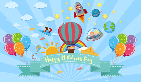 Illustration pour Happy Children's day poster with kids and toys illustration - image libre de droit