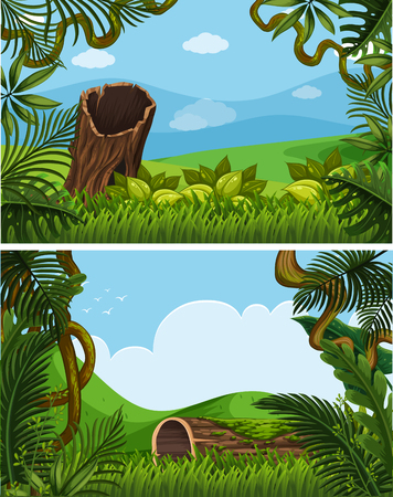 Illustration pour Two background scenes with plants on the hills illustration - image libre de droit