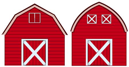 Illustration pour Two designs of barn in red colors illustration. - image libre de droit