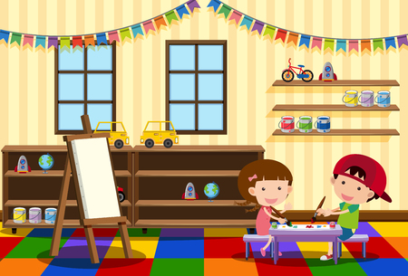 Illustration for Two kids painting in the classroom illustration - Royalty Free Image