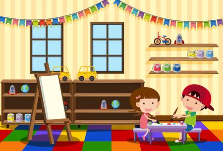 Illustration pour Two kids painting in the classroom illustration - image libre de droit