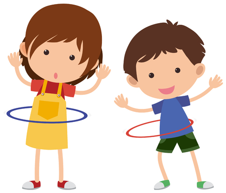 Illustration for Two kids playing hula-hoop, vector illustration. - Royalty Free Image