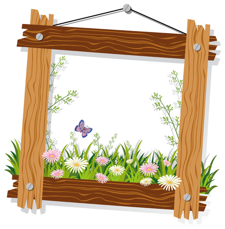 Illustration pour Wooden frame template with flowers and grass illustration - image libre de droit