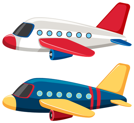 Illustration pour Two airplanes with blue and white colors illustration - image libre de droit