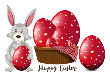 Illustration pour Easter poster design with red eggs and bunny illustration - image libre de droit