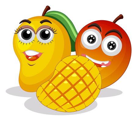 Illustration pour Fresh mangoes with happy face illustration - image libre de droit