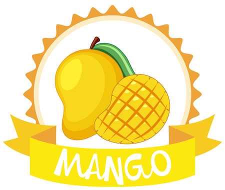 Illustration pour Sticker design with fresh mango illustration - image libre de droit