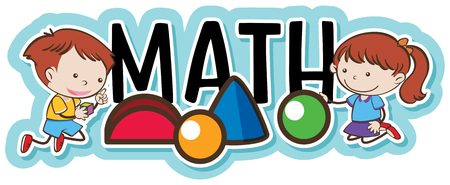 Ilustración de Kids Playing with Geometry Objects illustration - Imagen libre de derechos