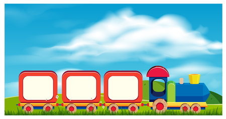 Illustration pour A Toy Train in Nature Background illustration - image libre de droit