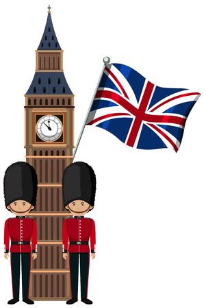 Illustration for Royal British Soldier Uniform at Bib Ben Tower illustration - Royalty Free Image