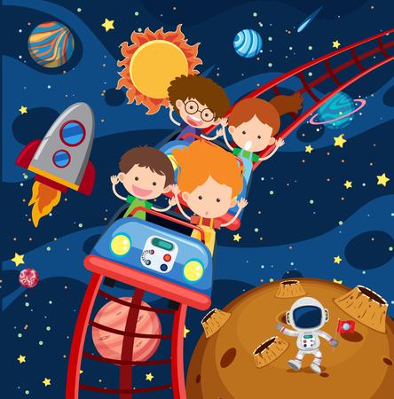 Illustration pour Kids riding roller coaster in space illustration - image libre de droit