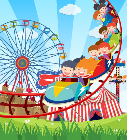 Illustration pour Children riding roller coaster illustration - image libre de droit