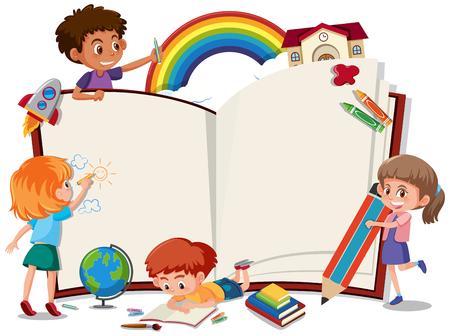 Ilustración de Children on the blank book illustration - Imagen libre de derechos