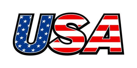 Illustration pour USA flag text - image libre de droit