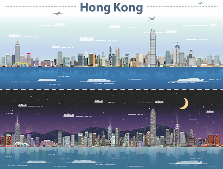 Illustration pour Hong Kong day and night vector illustration - image libre de droit