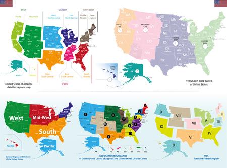 Illustration pour Vector maps of United States - image libre de droit