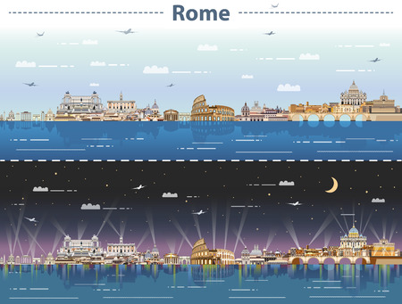 Illustration for Skyline of Rome at night - Royalty Free Image