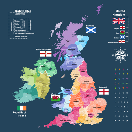Ilustración de Vector map of British Isles. Districts and counties maps and flags of the United Kingdom, Northern Ireland, Wales, Scotland and Republic of Ireland - Imagen libre de derechos