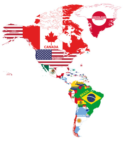 Illustration pour Vector illustration of North and South America map with country names and flags of countries - image libre de droit