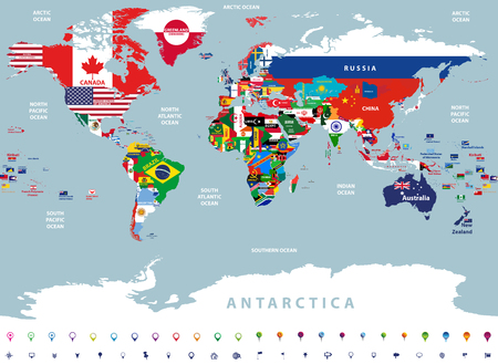 Illustration pour vector high detailed illustration of the map of the world - image libre de droit