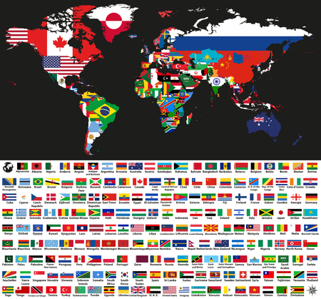 Illustration pour vector abstract world political map mixed with national flags on black background. Collection of all world flags isolated on white background and arranged in alphabetical order - image libre de droit
