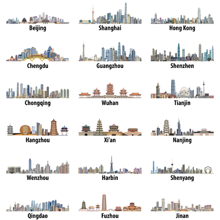 Ilustración de Vector high detailed set of chinese largest city skylines isolated on white background - Imagen libre de derechos