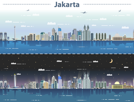 Illustration pour vector illustration of Jakarta skyline at day and night - image libre de droit