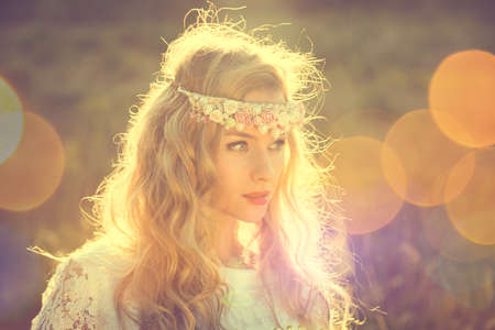 Photo for Enchanting Bride with Tiara on Nature Background. Modern Bridal Style. Boho Fashion Wedding. Filtered Cross Processed Photo with Bokeh and Copy Space. - Royalty Free Image