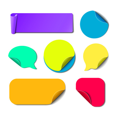 Illustration for Set of isolated colorful paper stickers. Square, round, rectangle and speech bubbles backgrounds. Vector labels illustration. - Royalty Free Image