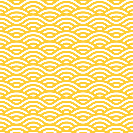Ilustración de Yellow and white waves seamless pattern. Vector linear ornament. - Imagen libre de derechos