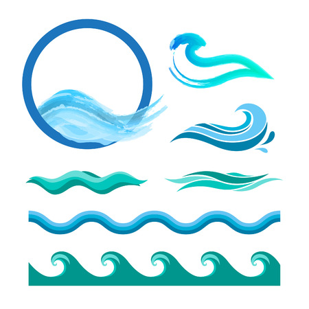 Ilustración de Set of blue ocean waves. Vector logo elements. Sea water icons. - Imagen libre de derechos