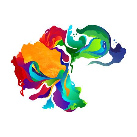 Illustration pour Vector paint abstract background. Colorful splash watercolor drops. Vector zentangle art. Isolated on white background. - image libre de droit